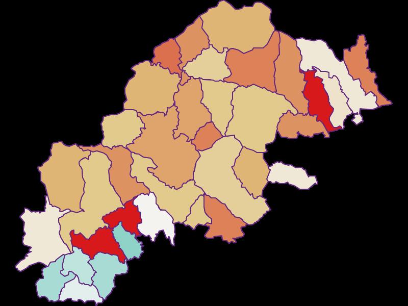 Прирост населения за 2011-2018   Восточно-Стирийское нагорье
