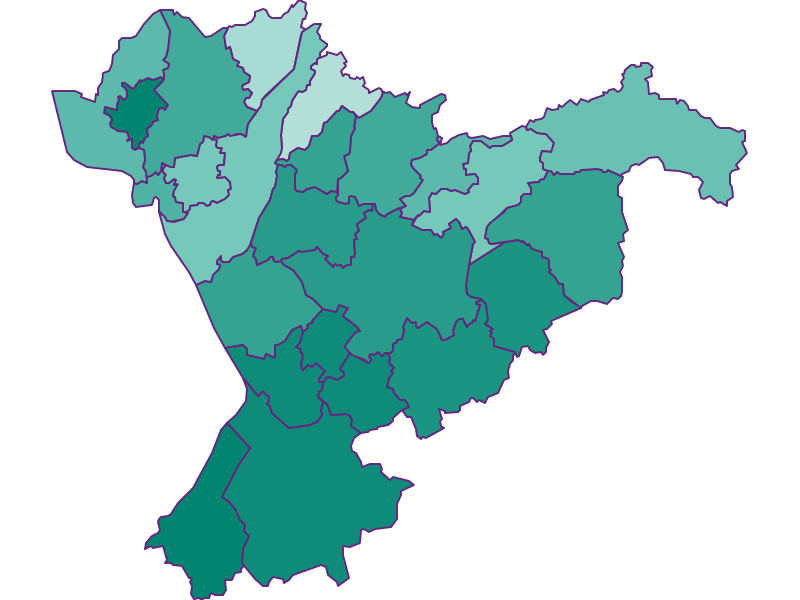 Прирост населения за 1869-2018   Флахгау