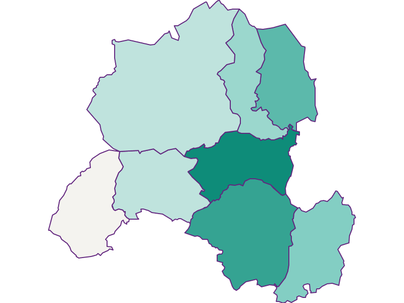 Прирост населения за 1869-2018   Зальзачпонгау