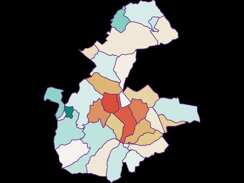 Прирост населения за 1900-2018   Бассейн Вулки и окрестности