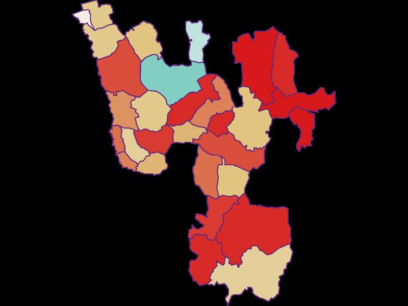 Прирост населения за 1900-2018 | Южные Бургенландские холмы
