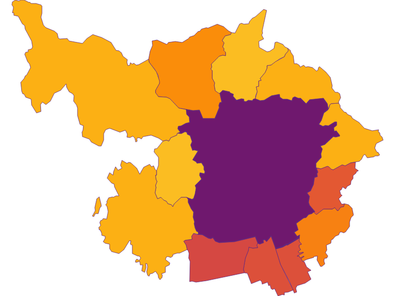 Population density in Graz