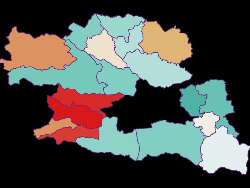 Population development since 1869 in Villach Land