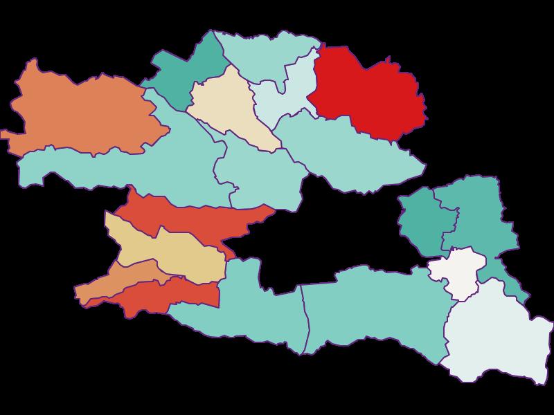 Population development since 1900 in Villach Land