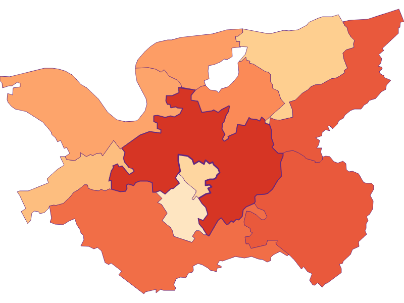 Размер домохозяйства в Bergland