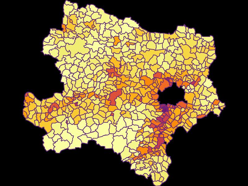 Population density in Niederösterreich