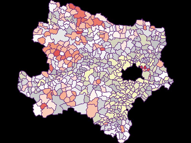 Farmers (comparison to federal state) in Niederösterreich