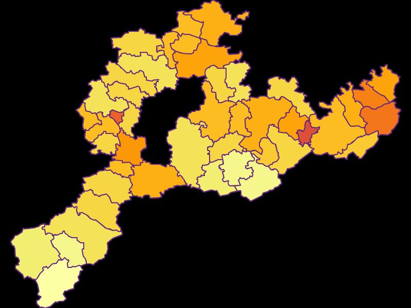 Плотность населения в Sankt Pölten(Land)