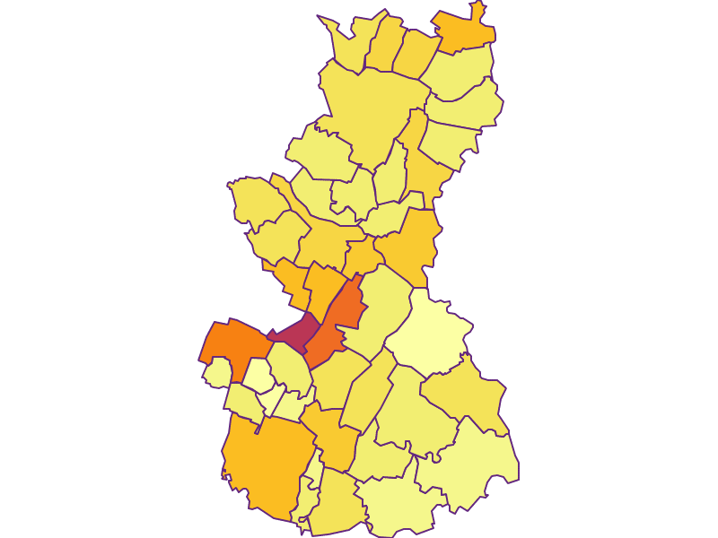 Population density in Gänserndorf