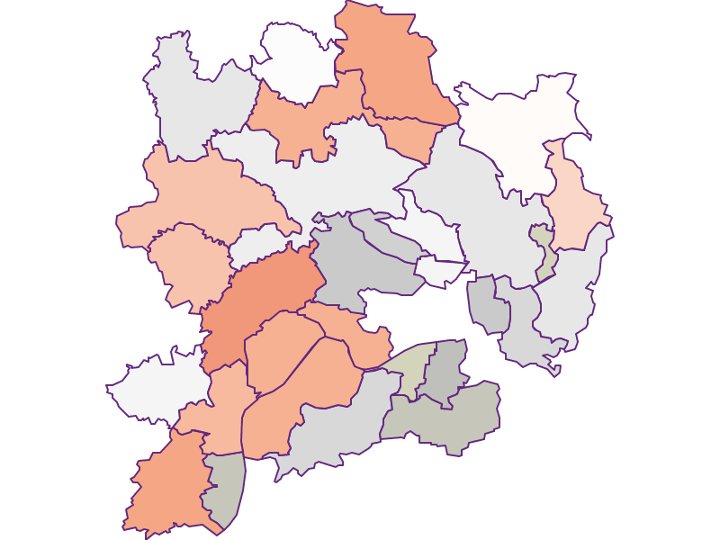 Farmers (comparison to federal state) in Krems(Land)