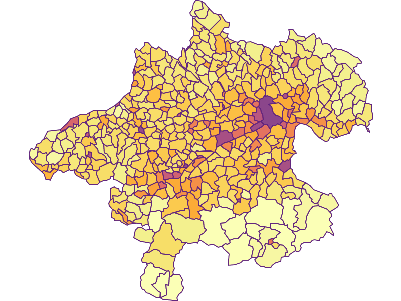 Population Density: Upper Austria - Austria - Geography, business and economics, statistics | Similio