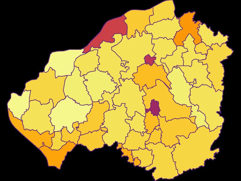 Плотность населения в Braunau am Inn
