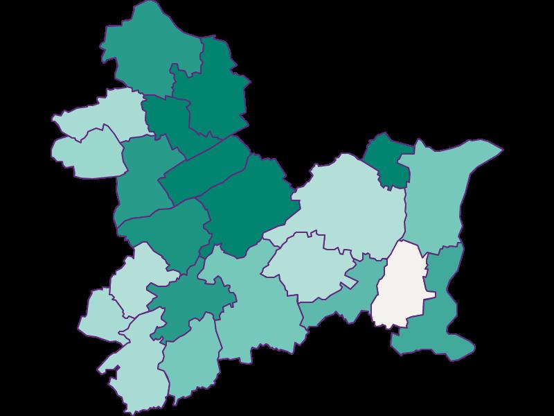 Population development since 1900 in Linz-Land