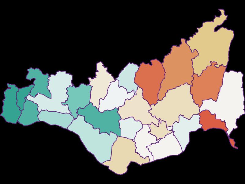 Population development since 1869 in Perg