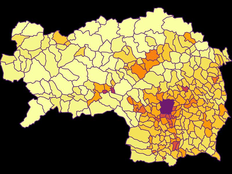 Bevölkerungsdichte: Steiermark - Österreich - Geographie, Wirtschaftskunde, Statistik | Similio