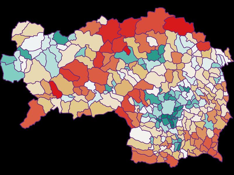 Прирост населения за 1900-2018 | Штирия
