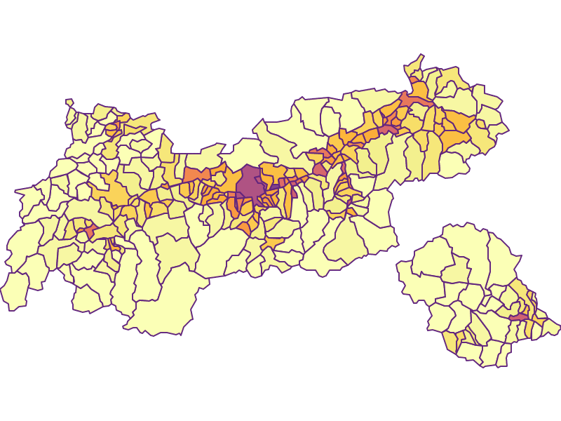 Population Density: Tyrol - Austria - Geography, business and economics, statistics | Similio