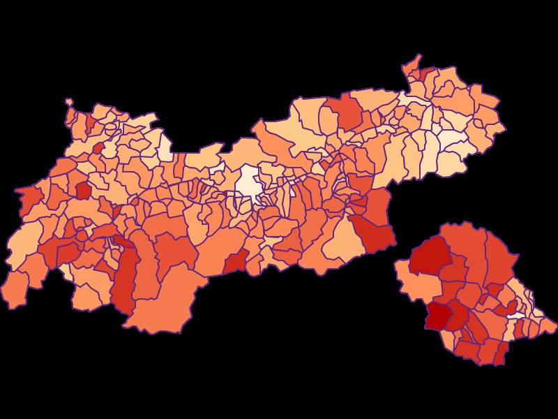 Размер домохозяйства в Tirol