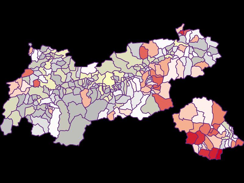 Farmers (federal): Tyrol - Austria - Geography, business and economics, statistics | Similio