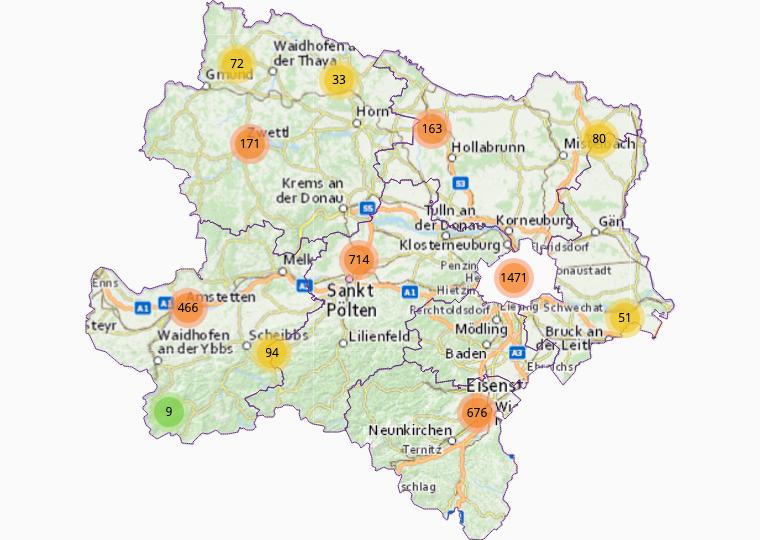 Retail market trade & direct sales in Lower Austria